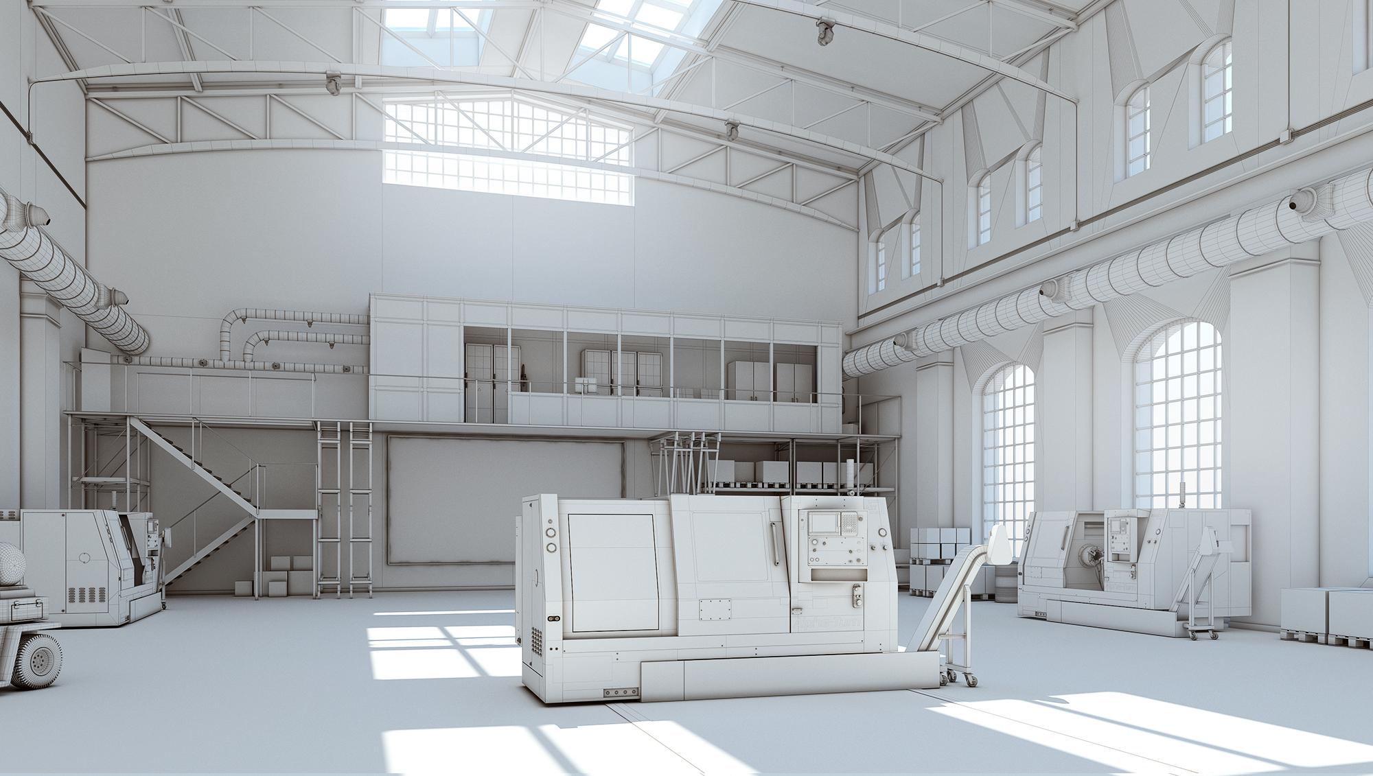 Industrial interior visualization 3d