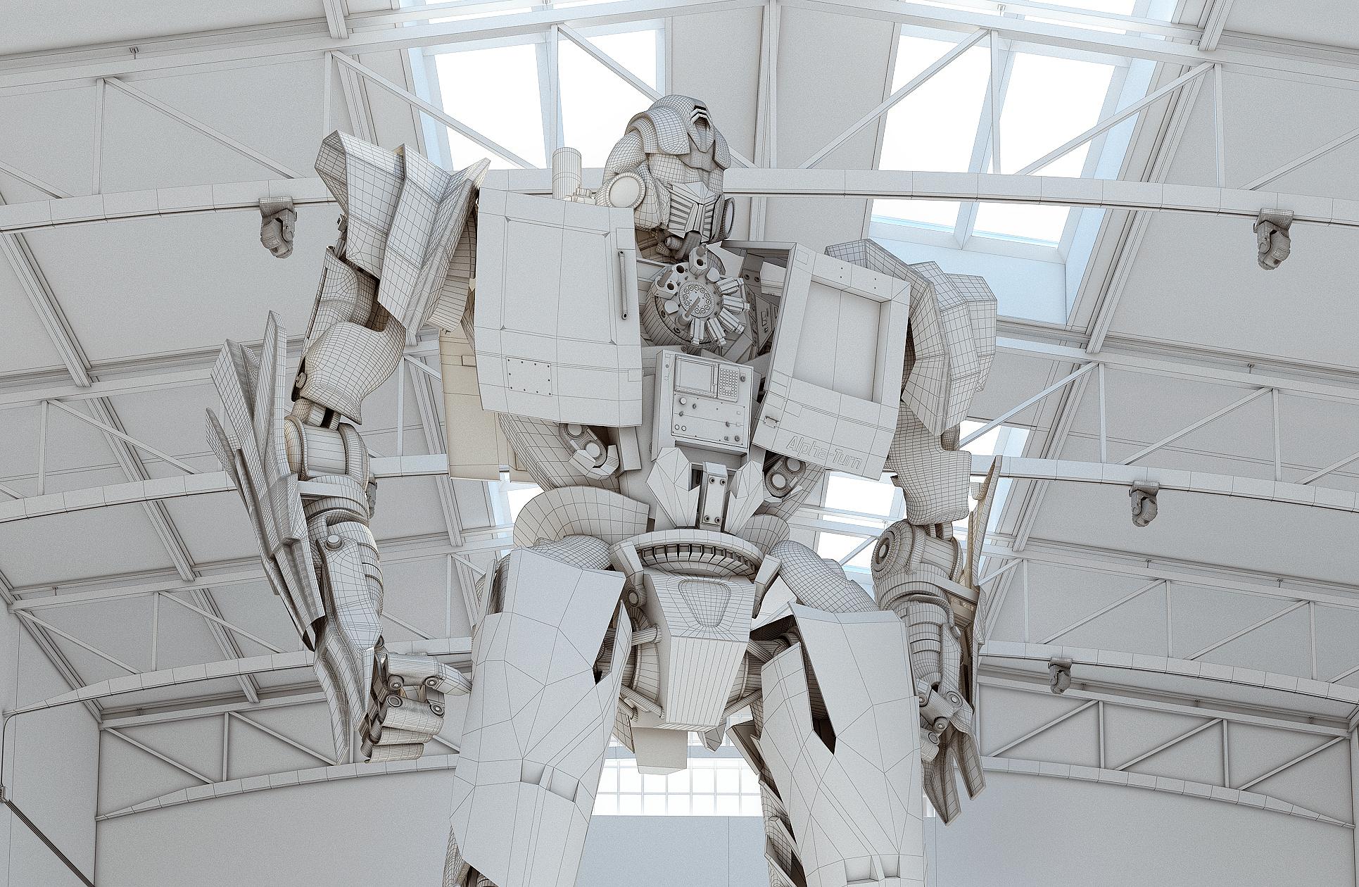 robot-3d-zblizenie-widok-siatki